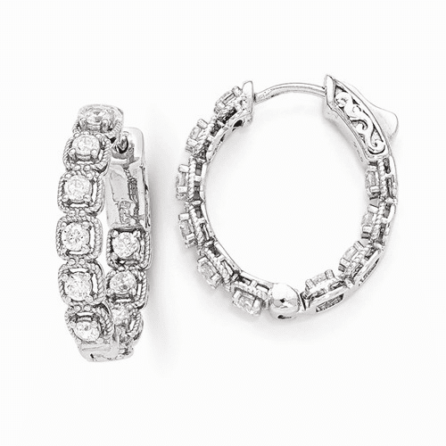 Silver Rhodium Plated Cz In And Out Oval Hoop Earrings