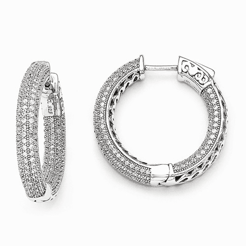 Silver Rhodium-plated Cz In And Out Pave Hoop Earrings