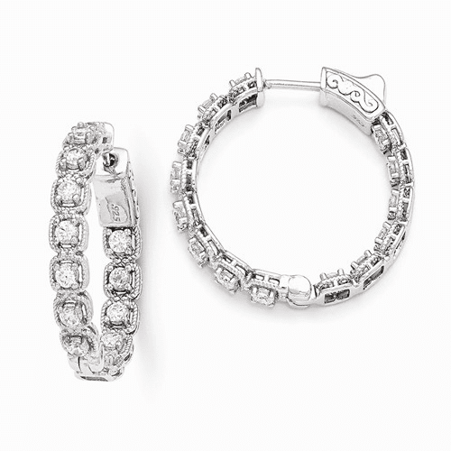Silver Rhodium Plated Cz In And Out Round Hoop Earrings