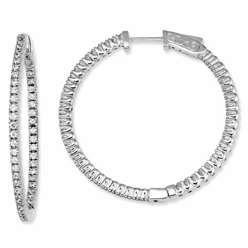 Silver Rhodium-plated Cz In And Out Round Hoop Earrings