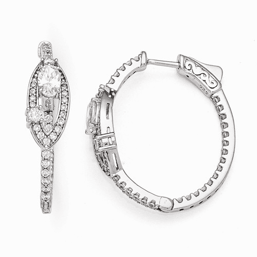 Silver Rhodium Plated Cz Oval Hinged In/out Hoop Earrings