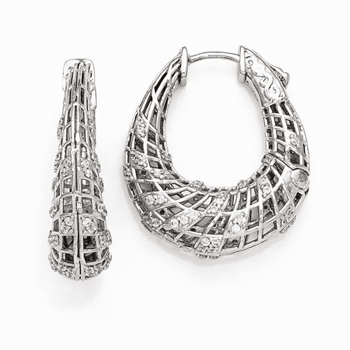 Silver Rhodium Plated Cz Small Oval Hinged Hoop Earrings
