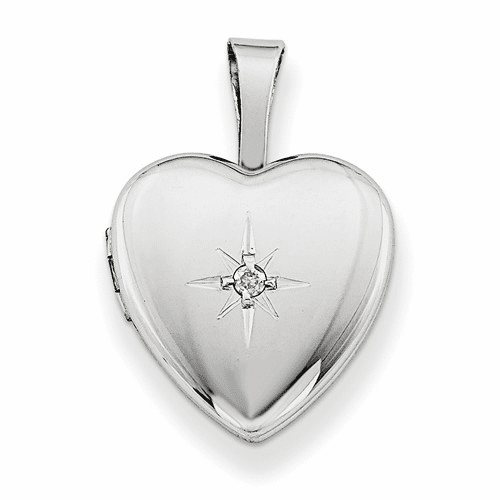 Silver Rhodium-plated & Dia. Polished 12mm Heart Locket