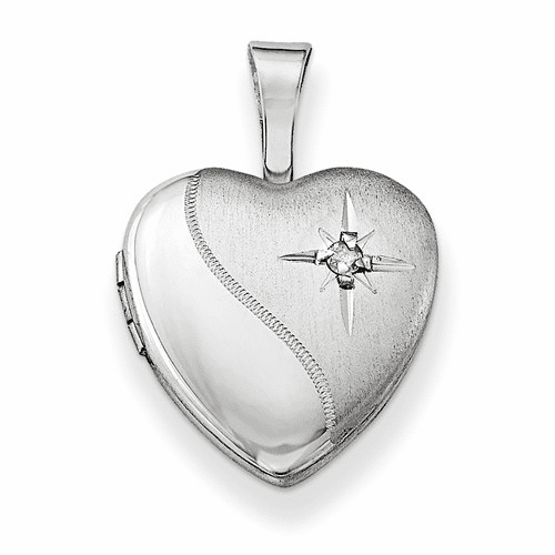 Silver Rhodium-plated & Dia. Polished And Satin 12mm Heart Locket