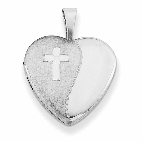 Silver Rhodium-plated & Diamond 16mm D/c Cross Heart Locket