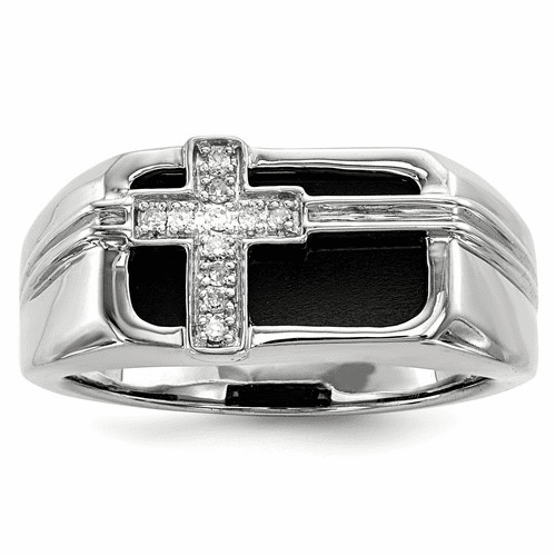 Silver Rhodium Plated Diamond Black Onyx Cross Men's Ring