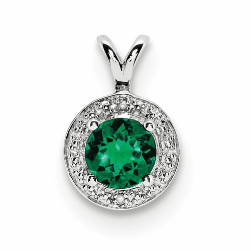 Silver Rhodium-plated Diamond & Created Emerald Pendant