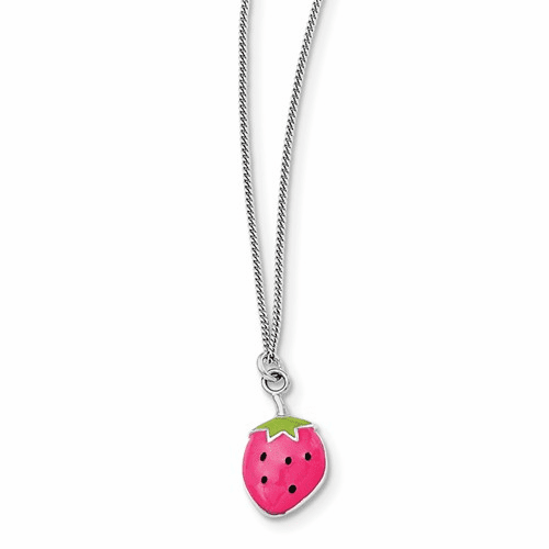 Silver Rhodium-plated Enamel Strawberry 15.75in Necklace