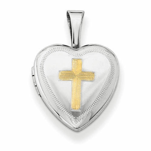 Silver Rhodium-plated Gold-plated Cross 12mm Heart Locket