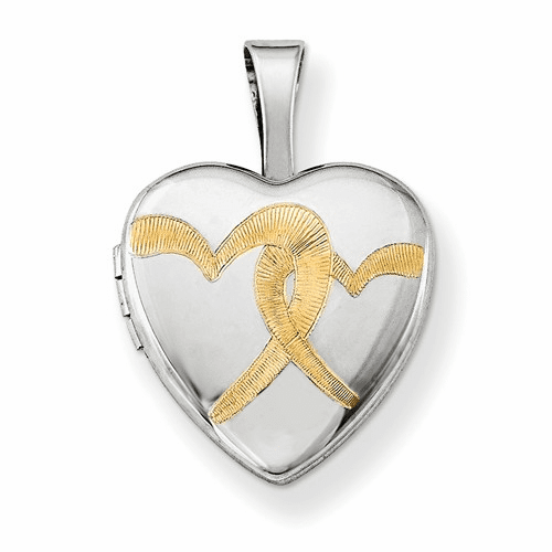 Silver Rhodium-plated Gold-plated Linked Hearts 12mm Heart Locket