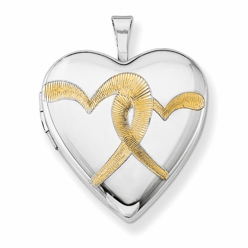 Silver Rhodium-plated Gold-plated Linked Hearts 20mm Heart Locket