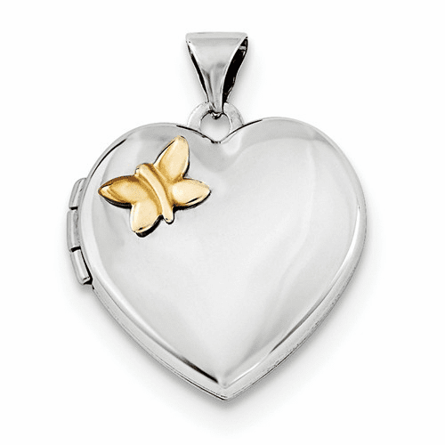 Silver Rhodium-plated Heart W/gold-plating Butterfly Locket