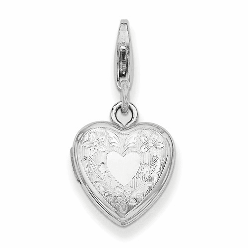 Silver Rhodium-plated Heart Wings Lobster Clasp 12mm Heart Locket