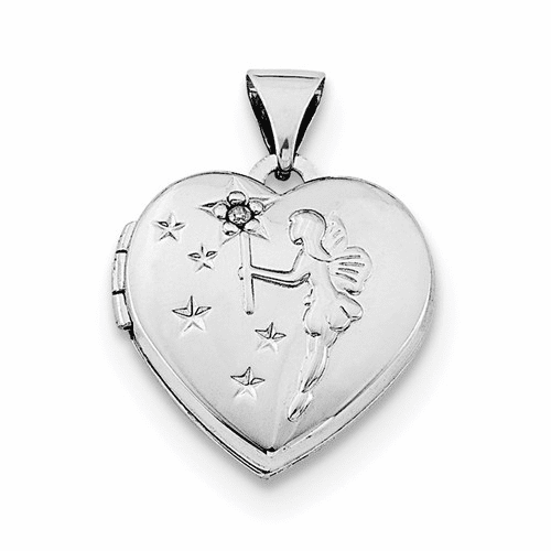 Silver Rhodium-plated Heart With Diamond Fairy Wishes Locket