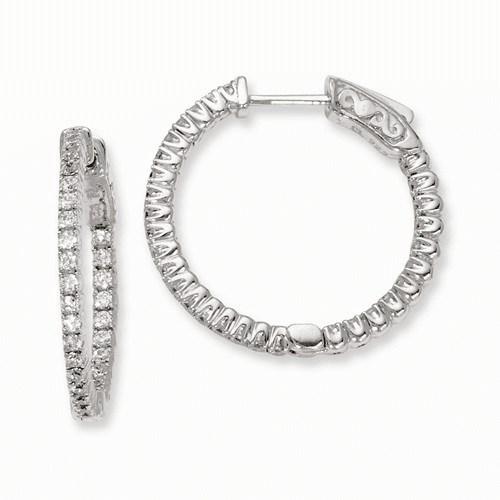 Silver Rhodium-plated In And Out Cz Hinged Hoop Earrings QE7942