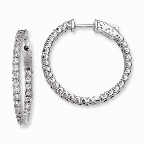Silver Rhodium-plated In And Out Cz Hinged Hoop Earrings QE7950