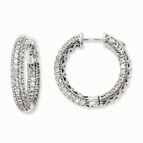 Silver Rhodium-plated Pave Cz In And Out Hoop Earrings
