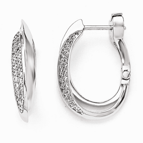 Silver Rhodium Plated Polished Cz Hinged Oval Double Hoop Earring