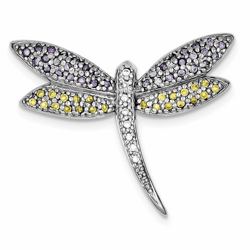 Silver Rhodium-plated Purple, Yellow & Clear Cz Dragonfly Pin Qp888
