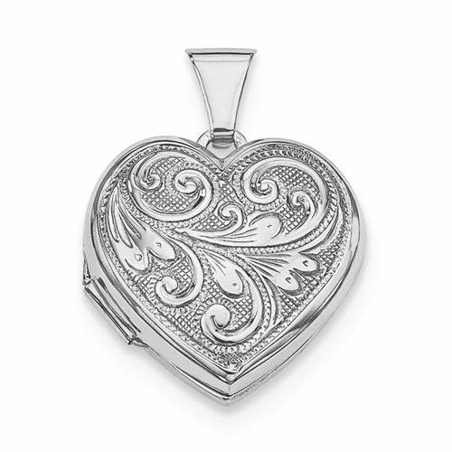 Silver Rhodium-plated Scrolled Front & Back Heart Locket