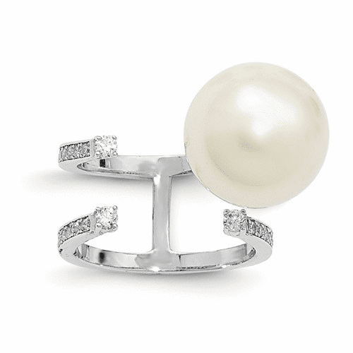 Silver Rhodium-plated Simulated Pearl & Cz Adjustable Ring