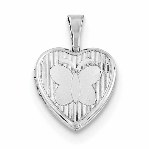 Silver Rhodium-plated Textured & Polished Butterfly Heart Locket