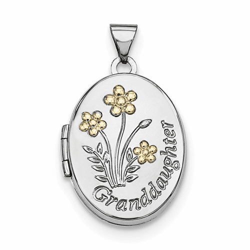 Silver Rhodium-plated W/gold-plate Oval Granddaughter Locket