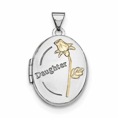 Silver Rhodium-plated W/gold-plated 21mm Oval Daughter Locket