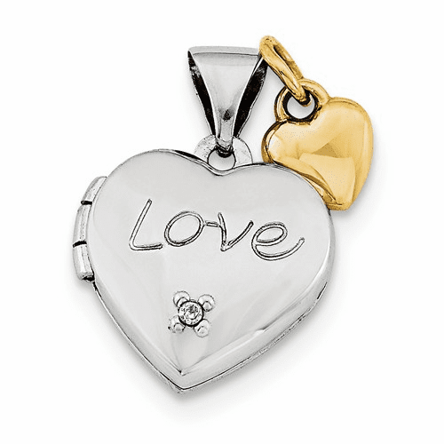 Silver Rhodium-plated W/gold-plated Dia W/ Charm