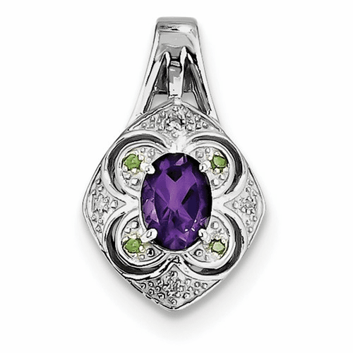 Silver Rhodium-plated White/green Diamond & Amethyst Pendant
