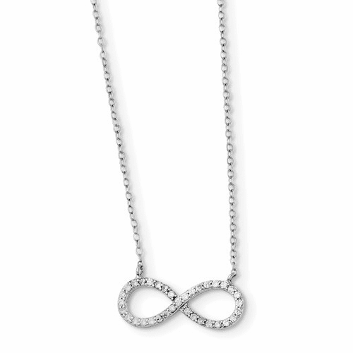 Silver Rhodium-plated With Cz Infinity W/ 2 In Ext Necklace