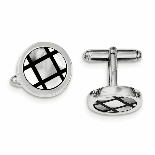 Silver Rhodium-plated With Mop & Black Enamel Cuff Links Qq449