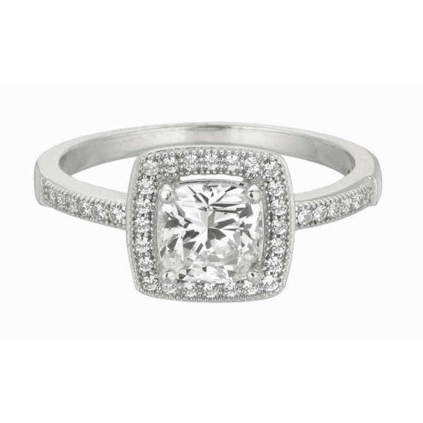 Silver / Rhodium Shiny 1.8mm Clear CZ Size 6 Square Top Ring
