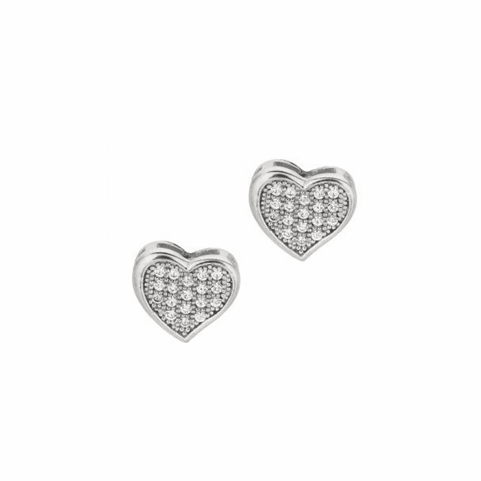 Silver/Rhodium Shiny 10.0mm Fancy Heart with Clear CZ Earring