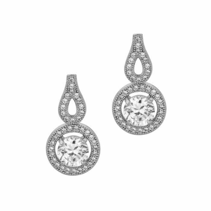 Silver/Rhodium Shiny 11.0mm Round Open with Clear CZ Dangle Earring