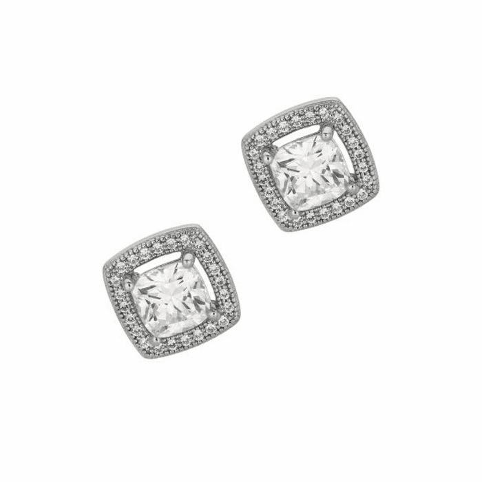 Silver/Rhodium Shiny 12.0mm Fancy Open Square with CZ Earring