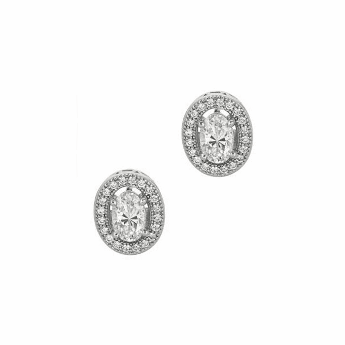 Silver/Rhodium Shiny 12.0mm Open Oval with Clear CZ Earring