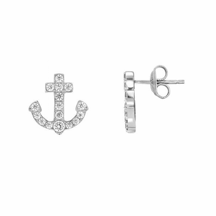 Silver/Rhodium Shiny 13X13.5mm White CZ Anchor Fancy Post Earring
