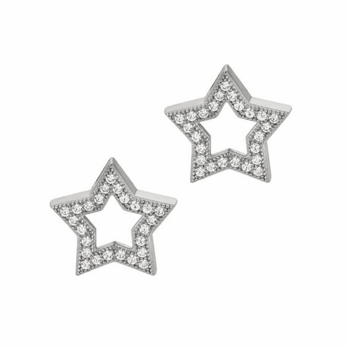Silver/Rhodium Shiny 15.0mm Open Star with Clear CZ Earring