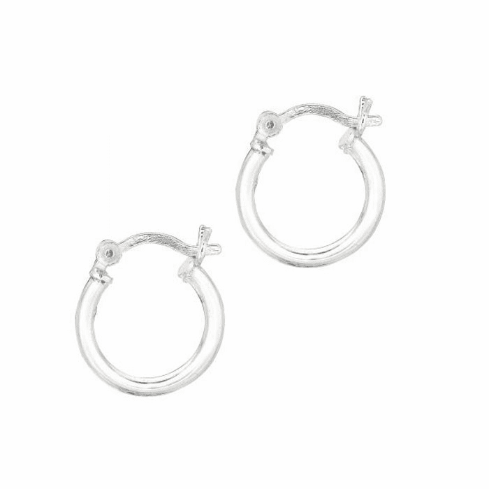 Silver Rhodium Shiny 2.0X10mm Round Hoop Earring with Hinged Clasp