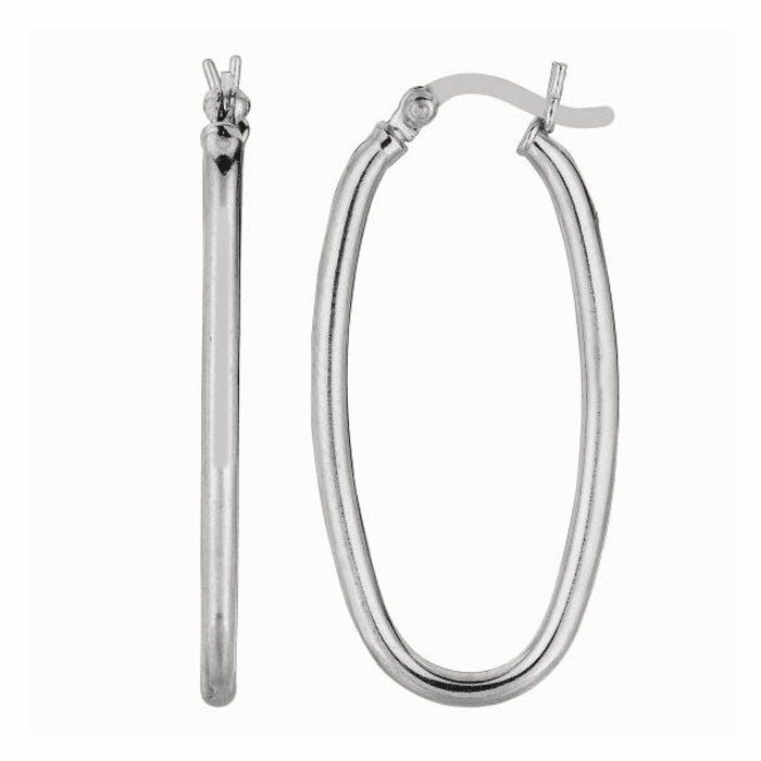 Silver Rhodium Shiny 2.0X14mm Oval Hoop Earring with Hinged Clasp
