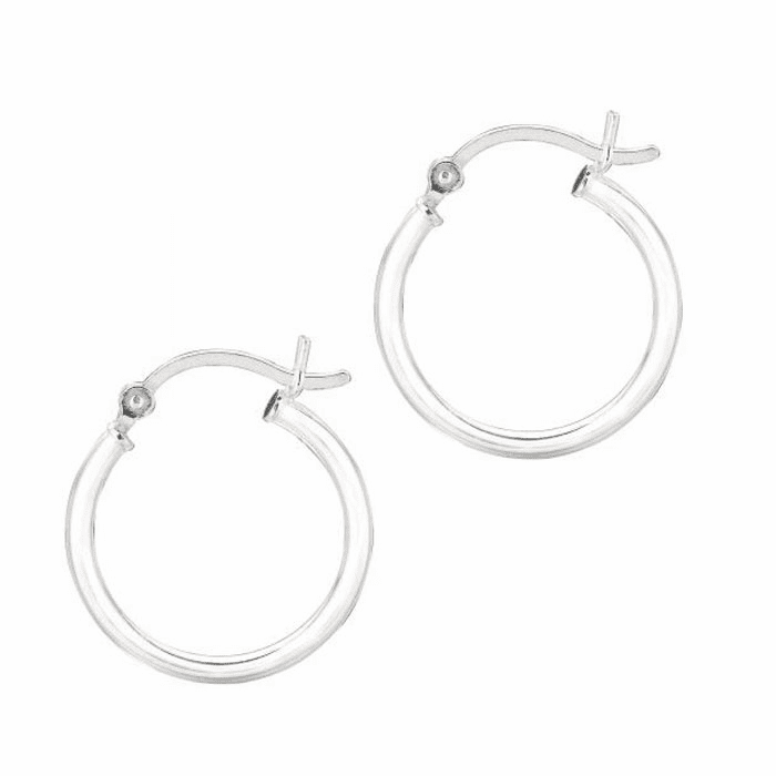 Silver Rhodium Shiny 2.0X15mm Round Hoop Earring with Hinged Clasp