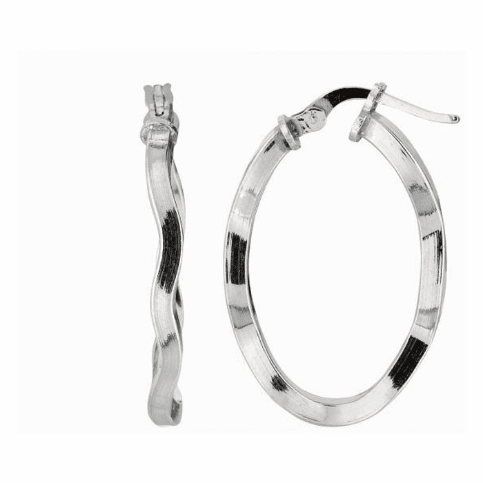 Silver Rhodium Shiny 2.0X15mm Twisted Oval Hoop Earring