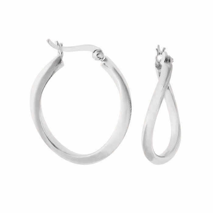 Silver Rhodium Shiny 2.0X18mm Twisted Hoop Earring with Hinged Clasp