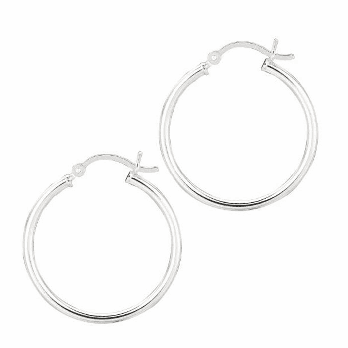 Silver Rhodium Shiny 2.0X25mm Round Hoop Earring with Hinged Clasp