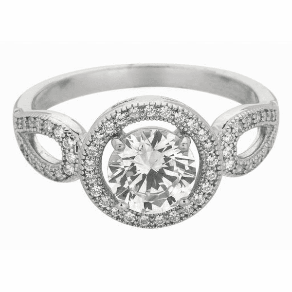 Silver / Rhodium Shiny 2.2mm Clear CZ Fancy Size 6 Round Top Ring