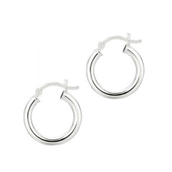 Silver Rhodium Shiny 3.0X15mm Round Hoop Earring with Hinged Clasp