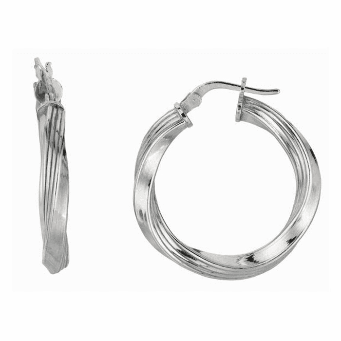 Silver Rhodium Shiny 3.0X21mm Twisted Hoop Type Earring