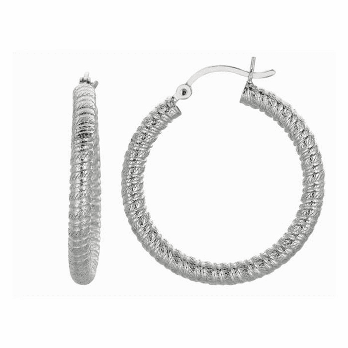 Silver Rhodium Shiny 3.0X22mm Textured Hoop Earring with Hinged Clasp