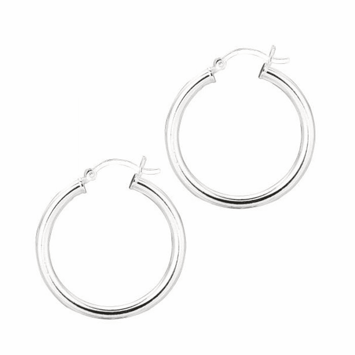 Silver Rhodium Shiny 3.0X25mm Round Hoop Earring with Hinged Clasp